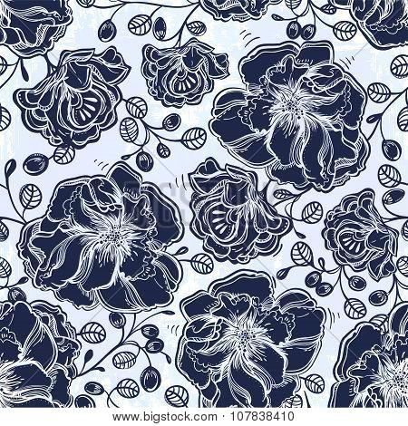 Floral pattern of flowers leaf, summer berries.