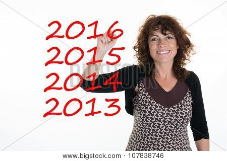 Woman Pointing Finger For The New Year