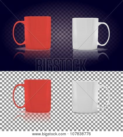 Set of Cup or Mug White and Red