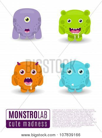 Monsters Vector Set. Cute Cartoon Monsters.