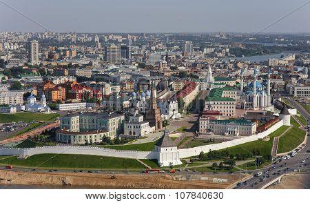 Panorama of Kazan in the air.
