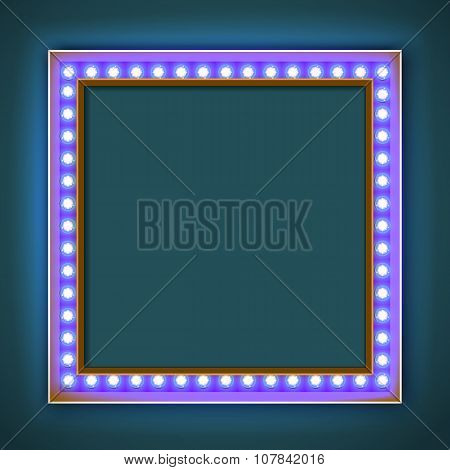 Square frame with glowing light bulb