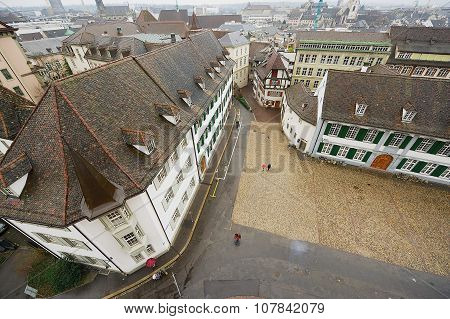 View to the Munsterplatz square from the Munster tower in Basel, Switzerland.