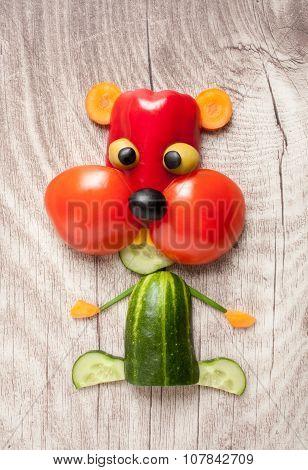 Vegetable Hamster On Wooden Background