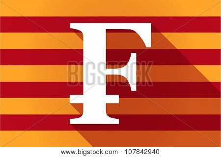 Long Shadow Catalonia Vector Flag With A Swiss Franc Sign