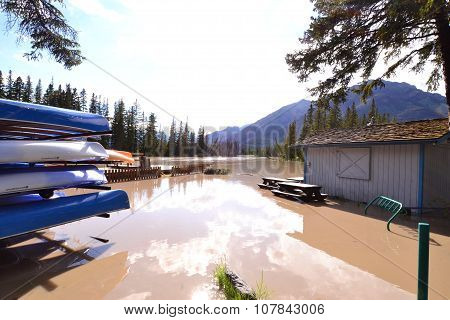 Flooded canoe docks
