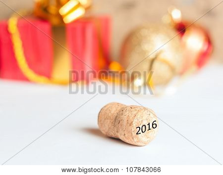 Champagne cork and New Year gifts