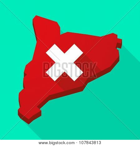 Catalonia Long Shadow Vector Icon Map With An X Sign