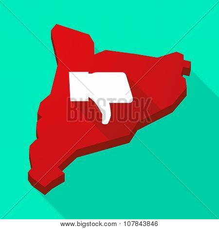Catalonia Long Shadow Vector Icon Map With A Thumb Down Hand