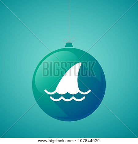 Long Shadow Vector Christmas Ball Icon With A Shark Fin