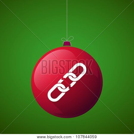 Long Shadow Vector Christmas Ball Icon With A Broken Chain