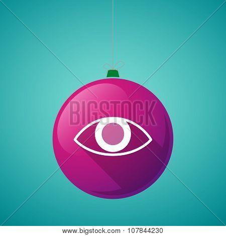 Long Shadow Vector Christmas Ball Icon With An Eye