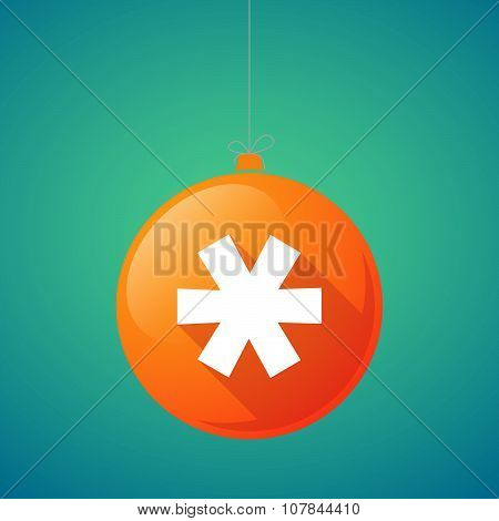 Long Shadow Vector Christmas Ball Icon With An Asterisk
