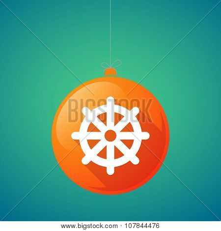 Long Shadow Vector Christmas Ball Icon With A Dharma Chakra Sign