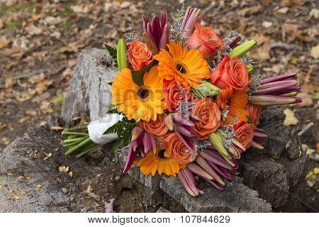 Fall Bridal Bouquet Outside