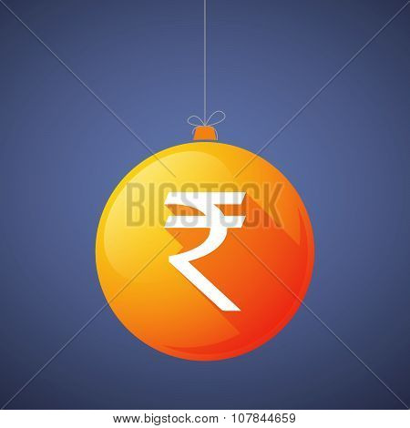 Long Shadow Vector Christmas Ball Icon With A Rupee Sign