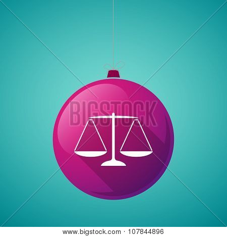 Long Shadow Vector Christmas Ball Icon With A Justice Weight Scale Sign