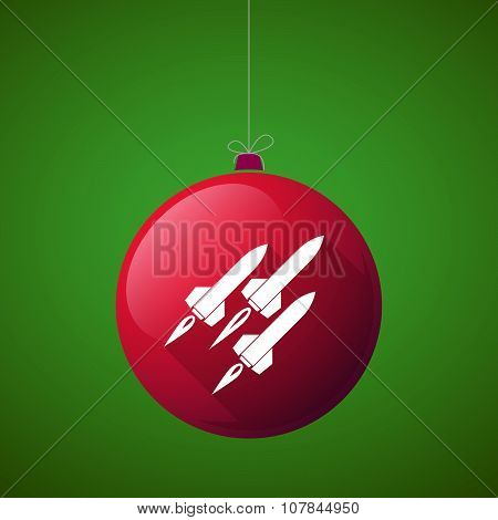 Long Shadow Vector Christmas Ball Icon With Missiles