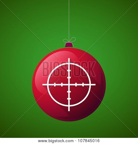 Long Shadow Vector Christmas Ball Icon With A Crosshair
