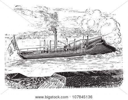 Farcy gunboat, vintage engraved illustration. Industrial encyclopedia E.-O. Lami - 1875.