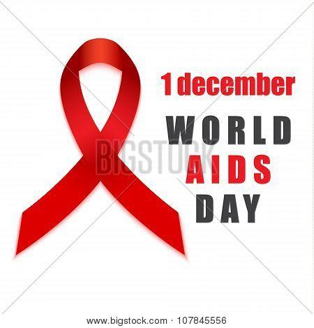 Aids hiv day red ribbon awareness symbol.