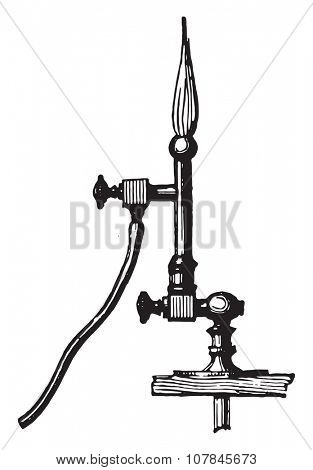 Torch oxygen and hydrogen gas replacement lamp enameller, vintage engraved illustration. Industrial encyclopedia E.-O. Lami - 1875.