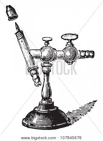 Mouth-operated torch, vintage engraved illustration. Industrial encyclopedia E.-O. Lami - 1875.