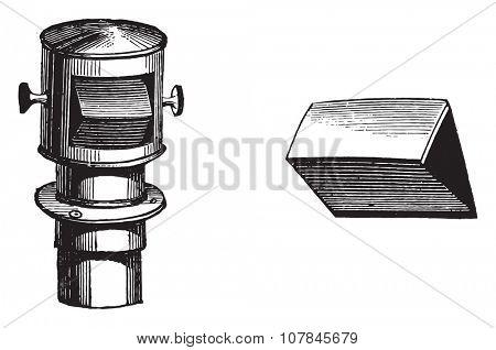 Port-prism and lens of the camera obscura designers, vintage engraved illustration. Industrial encyclopedia E.-O. Lami - 1875.