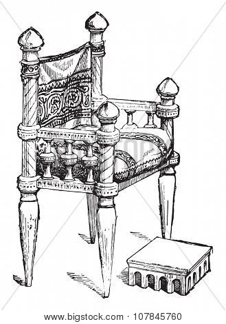 Chair of the twelfth century, vintage engraved illustration. Industrial encyclopedia E.-O. Lami - 1875.