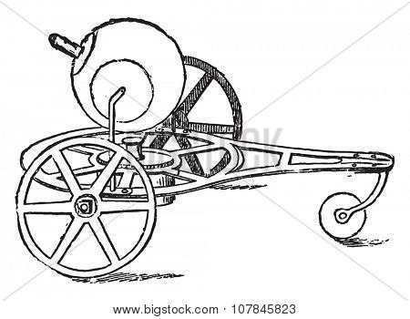 Reaction aeolipile, vintage engraved illustration. Industrial encyclopedia E.-O. Lami - 1875.