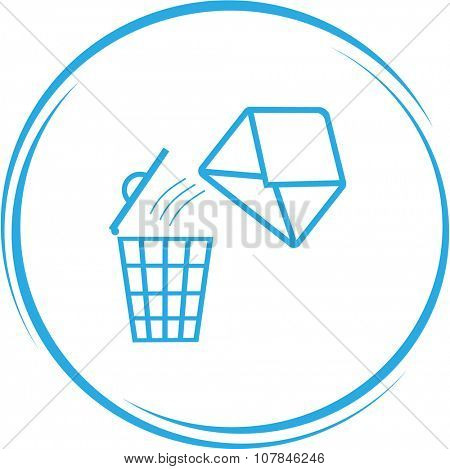 mail with bin. Internet button. Vector icon.