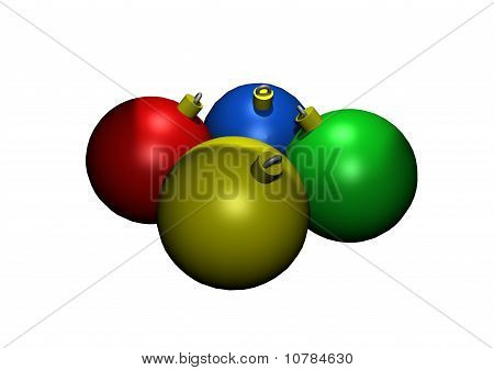 Colored Glass Christmas Ornaments in 3D
