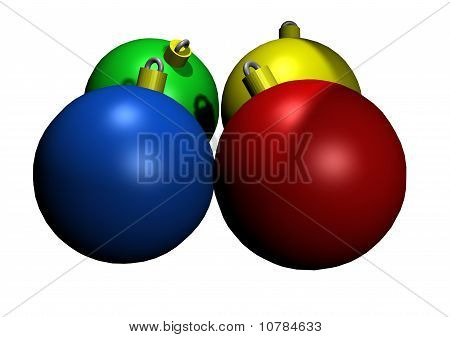 Illustrated Colored Glass Christmas Ornaments