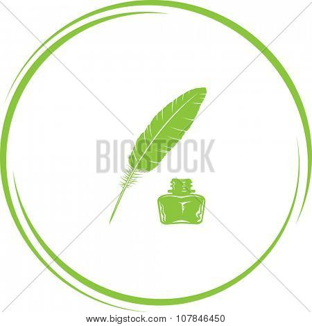 feather and ink bottle. Internet button. Vector icon.