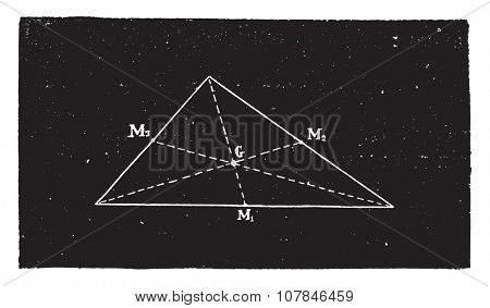 Triangle center of gravity, vintage engraved illustration. Industrial encyclopedia E.-O. Lami - 1875.