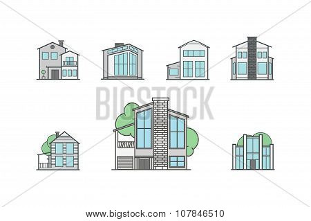 House Line Icon Set - Vector Illustration