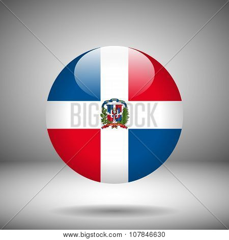 Round Flag Of Dominican Republic