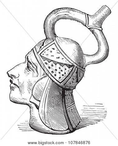 Peruvian Vase, vintage engraved illustration. Industrial encyclopedia E.-O. Lami - 1875.