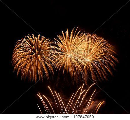 Orange fireworks background, orange yellow red explode