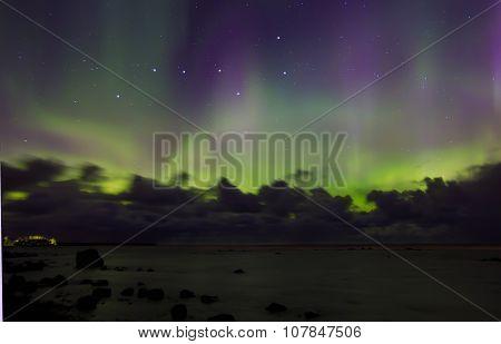 Northern lights on lake Ladoga, Russia