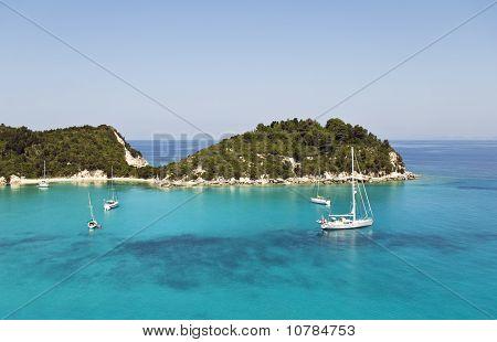 Lakka harbour in Paxos Greece.
