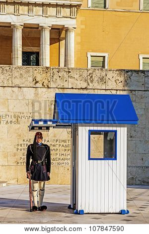 The guard at the Greek Tomb of the Unknown Soldier