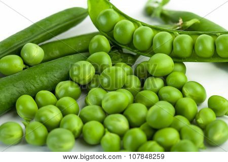 green pea pod, green peas, white background