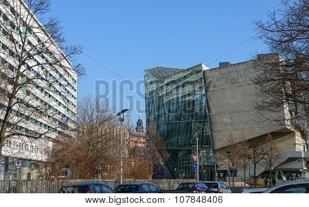 Buildings Near UFA-Crystal Palace, Dresden, Saxony, Germany.