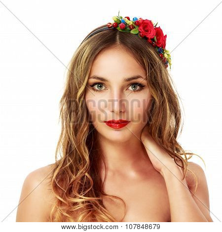 Woman with Wreath of Red Flowers. Isolated on White.