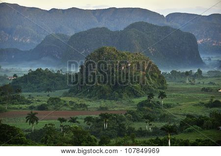 View Across The Vinales Valley In Cuba. Morning Twilight And Fog.