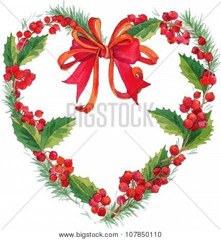 Christmas wreath watercolor. speech bubble Christmas frame isolated on white background. watercolor