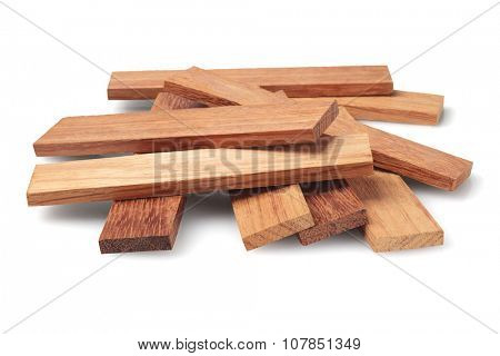 Wood Parquet Pieces on White Background