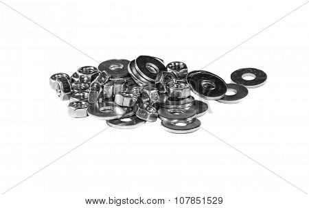 A Handful Of Mounting Washers And Nuts