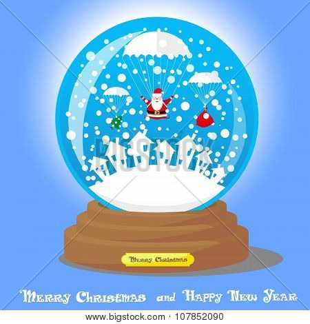 Vector Christmas Snow Globe: Santa Claus As Skydiver With Big Bag Gifts And Xmas Tree On Blue Gradie
